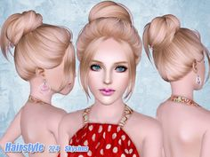 Casual bun hairstyle 224 by Skysims for Sims 3 - Sims Hairs - http . Casual bun hairstyle 224 by S Casual Bun, Sims 3 Cc Finds, Film Manga, The Sims 4 Cabelos, Sims Hair, Hair Setting, Sims 1, Just Girly Things, Sims Mods