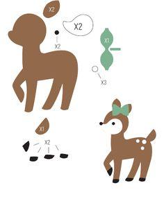 FELT / FEUTRINE / VILT - REINDEER - DEER / RENNE - CERF / RENDIER - HERT - Felt Deer Template
