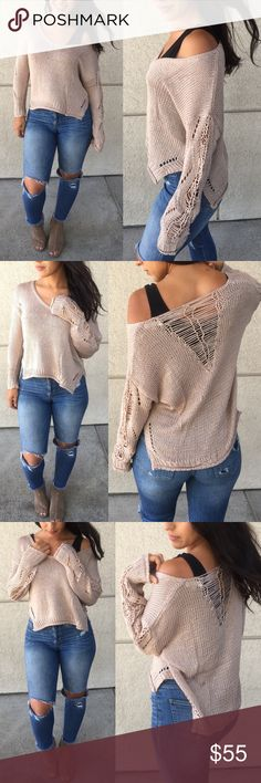 LILITH Distressed Knit Sweater Distressed Knit Sweater  NO TRADE  PRICE FIRM Bellanblue Sweaters