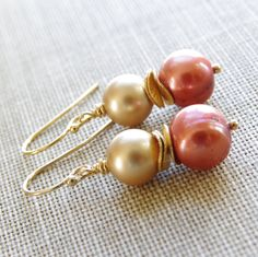 Autumn Earrings Copper Gold Pearl Beaded Gold Filled Fall Wedding Rust Bridesmaid Gifts Handmade Jewelry via Etsy.