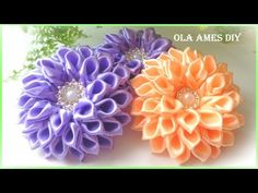"""Hello everyone and welcome to my channel """"Ola ameS DIY""""! Nylon Flowers, Satin Ribbon Flowers, Diy Ribbon, Ribbon Crafts, Flower Crafts, Ribbon Bows, Diy Flowers, Fabric Flowers, Ribbon Flower Tutorial"""
