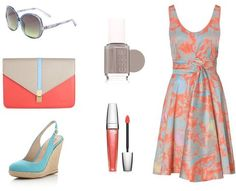 tangerine, tiffany blue and beige - must own this outfit!