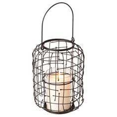 Dot & Bo Wire Weave Candle Lantern ($23) ❤ liked on Polyvore featuring home, home decor, candles & candleholders, wall mount lantern, wire lantern, wall candles, wire home decor and interior wall decor