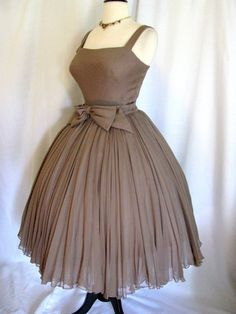 Vintage 1950s Harvey Berin Taupe Chiffon Dress w/ Full Skirt