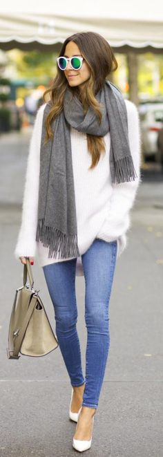 Street fashion white sweater and grey scarf.