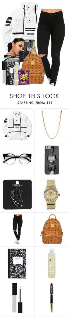 """black and white"" by thaofficialtrillqueen ❤ liked on Polyvore featuring The North Face, ASOS, ZeroUV, Topshop, Piaget, MCM, Dot & Bo, Gucci, Parker and Fuego"
