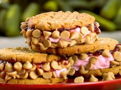 PBJ Ice Cream Sandwiches by Paula Deen: Made with Paula's Magical PB Cookies, homemade strawberry ice cream and PB chips or chopped peanuts.  #Ice_Cream_Sandwich #PBJ_Ice_Cream_Sandwich #Paula_Deen