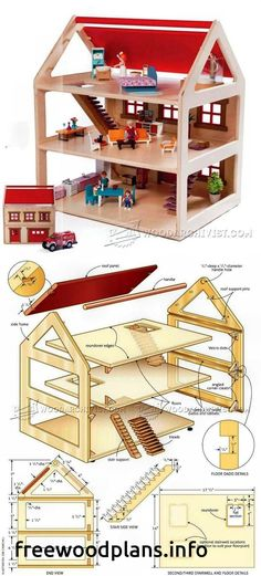 Toy House Plans - Children's Wooden Toy Plans and Projects - Woodwork, Woodworking, Woodworking Plans, Woodworking Projects Wooden Dollhouse, Diy Dollhouse, Miniature Furniture, Barbie Furniture, Doll House Plans, Toy House, Barbie House, Wooden Crafts, Wood Toys