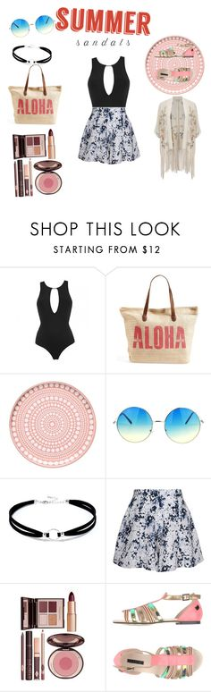 """""""summer sandals"""" by arianater ❤ liked on Polyvore featuring MOEVA, Rip Curl, iittala, Lulu*s, Olive + Oak, Charlotte Tilbury, Lollipops, Miss Selfridge and summersandals"""