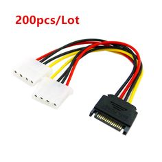 200pcs/Lot SATA to IDE Connector Power Cord SATA Power to IDE Power Adapter Cable SATA 15pin Male to 2 Large 4pin Power Cord #Affiliate