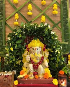 homeaccessories homeaccents To welcome Lord Ganesh Flower Decoration For Ganpati, Eco Friendly Ganpati Decoration, Ganpati Decoration Design, Housewarming Decorations, Diy Diwali Decorations, Festival Decorations, Flower Decorations, Wedding Decorations, Gauri Decoration
