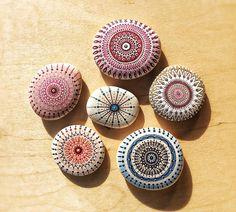 mandala, pebbles, rocks, stones, painting, colorful, homedecor, art,