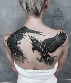 raven, fight, back tattoo, tattoo for all