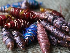silk wire wrapped beads...cool idea..