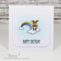 Mit Herz und Schere: Regenbogen & Hasi, Geburtstagskarte