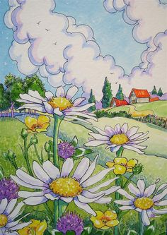 """Daisies and Friends Storybook Cottage Series"" original fine art by Alida Akers"