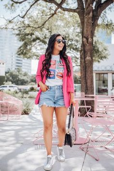 Short Outfits, Spring Outfits, Trendy Outfits, Cute Outfits, Fashion Outfits, Womens Fashion, Pink Blazer Outfits, Look Blazer, Moda Chic