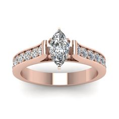 marquise shaped diamond cathedral engagement ring in 14K rose gold FDENS1102MQR NL RG