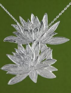 Waterlilies Pendant handmade by Garden of Silver
