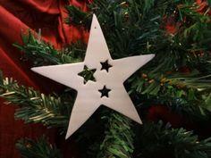 Grande étoile en fimo blanche pailletée, Découvrez my Etsy shop https://www.etsy.com/fr/shop/FeePlaisir et mon blog feeplaisir.wordpress.com
