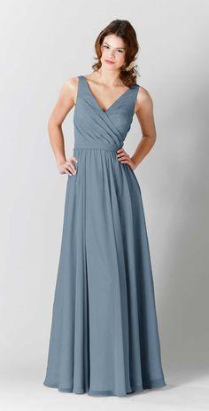Kennedy Blue Anna is a lovely floor length crinkle chiffon V-neck bridesmaid…