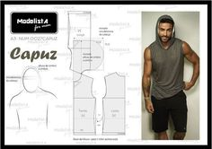 Modelista - For Men, sleeveles t-shirt with hoodie Mens Sewing Patterns, Sewing Men, Free Sewing, Clothing Patterns, Dress Patterns, Diy Couture, Couture Sewing, Diy Clothing, Sewing Clothes