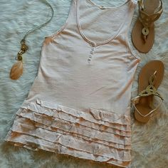 J. Crew ruffled tank Delicate light pink with multiple layers of ruffles. Worn twice. 100% cotton. J. Crew Tops Tank Tops