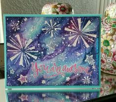 Card by Claire Morrison - Lawn Fawn Happy 4th; Simon Says Stamp Big Scripty Greetings; Galaxy nebula background done with Kuretake Gansai Tambi solid water colours #lawnfawn #simonsaysstamp #bigscriptygreetings