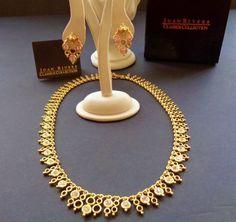 JOAN RIVERS DAY NIGHT DEMI PARURE CRYSTAL & LAPIS GOLD TONE VINTAGE COSTUME SET #JoanRivers