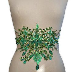 Green Embroidery Beaded Crystal Rhinestone Applique Patch Sewing For Wedding Dress Trims Waist Belly Decoration Elegant Wedding Gowns, Couture Wedding Gowns, Country Wedding Dresses, Princess Wedding Dresses, Colored Wedding Dresses, Boho Wedding Dress, Dream Wedding Dresses, Wedding Dresses Plus Size, Wedding Dress Styles