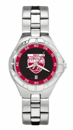 Alabama BCS Champs Pro II Women's Stainless Steel Watch by Logo Art. $109.99. This versatile wristwatch features a brushed chrome finish and mineral glass crystal. Watch is water resistant, uses a precision MiyotaTM three hand quartz movement with date function, and features black tin clamshell gift box packaging. Limited lifetime warranty.