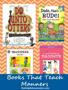 Another Pinner says: 4 books about manners - Reviews include how to use them with kids and the topics covered