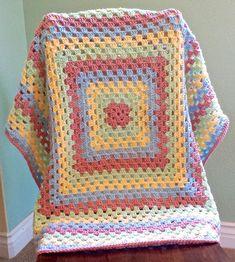 Crochet Baby Blanket Crochet Granny Square by AnniesHookNook
