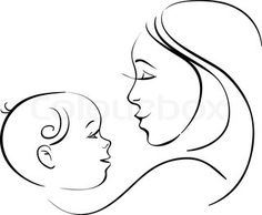 mom and baby drawings | Vector of Mother and baby icon Woman familychild vector Line drawing ...
