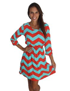 Red and Aqua Chevron Dress
