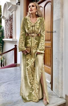 eautiful caftan by Moroccan Bride, Moroccan Caftan, Morrocan Fashion, Arab Fashion, Caftan Dress, Saris, Traditional Dresses, Special Occasion Dresses, Beautiful Outfits