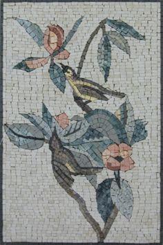 Birds Bushe Forest Green Round Medallion Garden Home Decor Marble Mosaic AN411