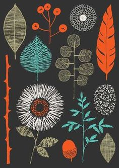 """""""Nature Trail limited edition giclee print by Eloise Renouf. This piece incorporates the colours tomato red, turquoise and sage on a charcoal-coloured background. All my images start life as something hand created, either painted, printed or drawn. Art And Illustration, Textures Patterns, Print Patterns, Pattern Designs, Illustrator, Motif Floral, Grafik Design, Art Design, Surface Pattern Design"""