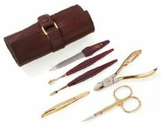 24K Gold Plated Manicure Set of 6 by Niegeloh by Niegeloh. $125.00. Solingen, Germany. Material: High Carbon SteelFinish: 24 K Gold Plated# of pieces: 6Case InformationColor: Whiskey-brownMaterial: LeatherWidth: 2.17 inchLength: 5.31 inch