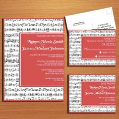 Could do this with a picture inside! Music Lovers Wedding Collection / Invitation / RSVP / Save the Date Postcard PRINTABLE / DIY