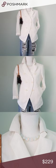 Brunello Cucinelli white silk jacket Absolutely one of my favorite pieces.  Sunning blazer by one of the most amazing designers. In very good used condition.  Does show some signs of wear due to white color. No major issues. Italian size 44. 0706 Brunello Cucinelli Jackets & Coats Blazers