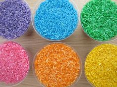 Colored rice for I Spy Bottles 1.5 cups rice, cap full rubbing alcohol, few squirts of color, shake in bag, poor out (paper towels or wax paper), and let dry.