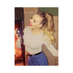 Little Mix's Perrie Edwards works hot high ponytail and sexy red lips... ❤ liked on Polyvore featuring hair, little mix, perrie edwards, hair styles and hairstyle's