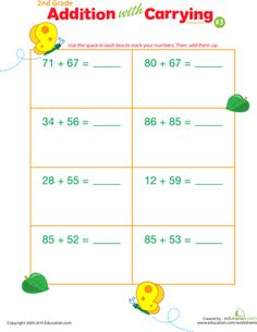 Addition with Carrying 13 | Worksheets, Math and School