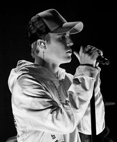 This image has been converted to black and white Singer Justin Bieber performs onstage during the 2015 American Music Awards at Microsoft Theater on...