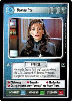 Star Trek Ccg, Star Wars, Deanna Troi, Si Fi, Collector Cards, Trading Cards, Trekking, Movie Stars, Science Fiction