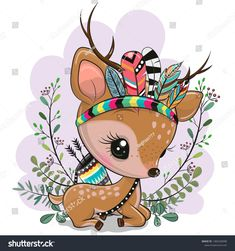 Cartoon Fawn With Feathers On A Blue Background Stock Vector – Illustration of american, eyes: 156586458 – Animal Drawing Illustration Mignonne, Cute Illustration, Cartoon Illustrations, Cute Images, Cute Pictures, Cartoon Mignon, Art Fantaisiste, Art Mignon, Cute Animal Drawings