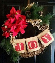 Celebrate the happiest time of the year with this gorgeous Christmas grapevine wreath! Adorned with vibrant, high quality faux poinsettias, this wreath spreads the message of joy with its burlap banner and rustic greenery. Each wreath measures approximately 18-19 across and is sure to be just the festive touch your door needs for the holiday season