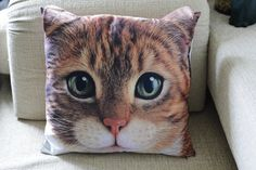 Taddy cat pillow cover pillow case cushion cover cat by BENWINEWIN