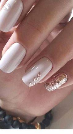 Rose Gold Nails, Red Nails, Glitter Nails, Sparkle Nails, Gold Glitter, White Nails With Gold, Black Nails, White Nails With Design, Pink Nail